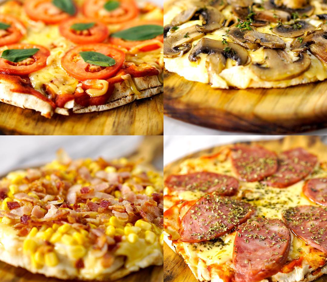 4 Pizzas de Frigideira com Pão Árabe